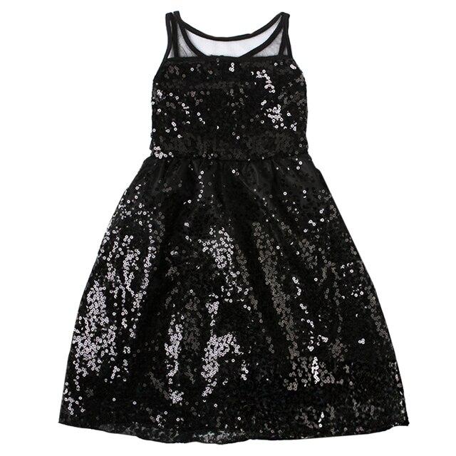 QUIKGROW 2~6 Years Toddler Kids Dresses for Girls Younger Children Sequin Summer Sleeveless Baby Long Black Dress FE04QZ