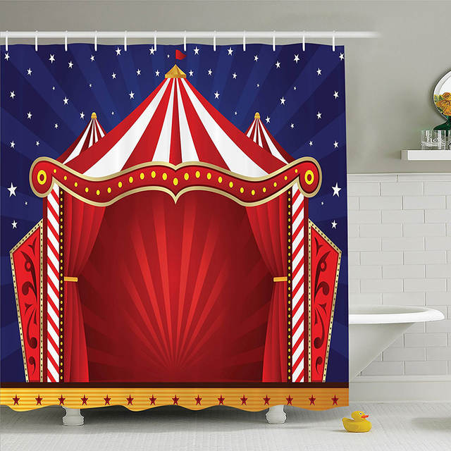 Online Shop Circus Decor Shower Curtain Canvas Tent Stage Performing Theater Jokes Clown Cheerful Night Theme Print Bathroom