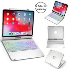 Para iPad Pro 2018 12,9 pulgadas Tablet funda USA teclado Smart Cover 360 grados de rotación teclado Bluetooth Smart Sleep Tablet funda
