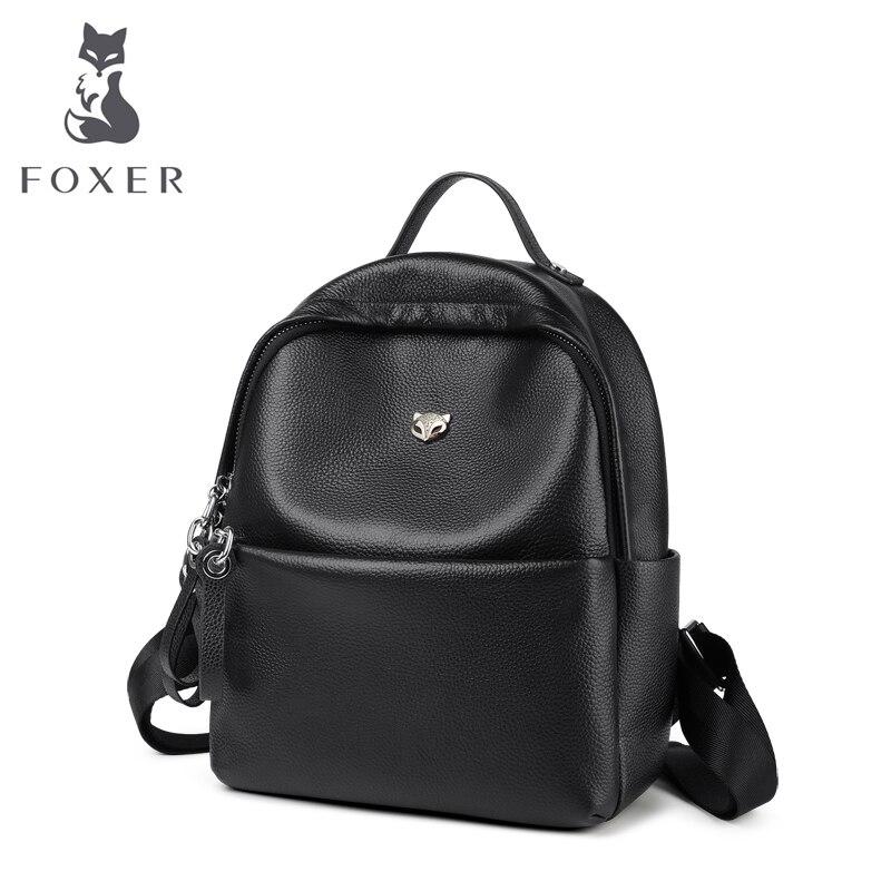 FOXER Brand 2018 Fashion Women Backpack Genuine Leather Backpacks for Teenage Girls Female School Shoulder Bag Bagpack foxer 2018 new women leather bag fashion school bags for teenage girls women backpack