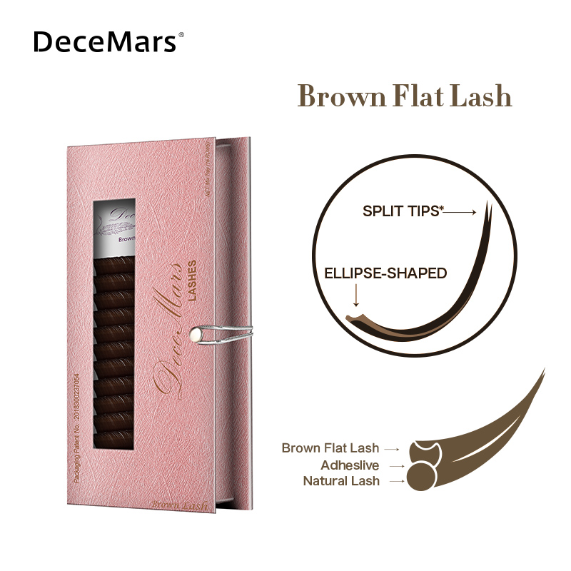 DeceMars Brown Matte Ellipse Flat Eyelash Extension Ellipse Soft Tips Light Weight Ellipse Lash Individual Eyelash Extension