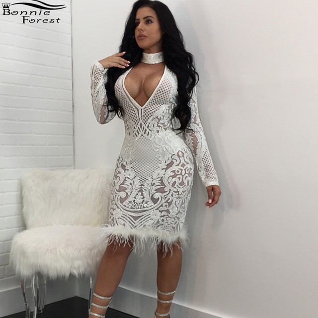 Bonnie Forest Sexy Women Deep V Neck Sequined Choker Bodycon Dress Autumn  Popular Long Sleeve Feather Patchwork Party Dresses 6121764ab