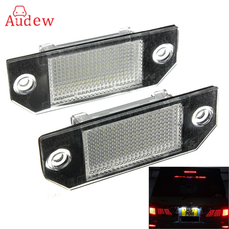 2Pcs Car LED License Plate Lights 12V White SMD3528 LED Number Plate Lamp Bulb Kit For Ford/Focus/C-Max 03-07 2pcs car led license number plate light lamp for ford focus 2 c max white car light source