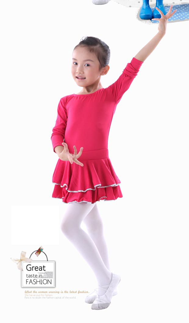 Free Shipping Spandex Children's Latin Practice And Performance Dress Girls Kids Long Sleeve Latin Dance Dress