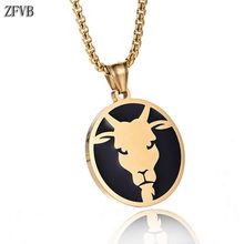 ZFVB Fashion Gold color 12 Constellations Necklaces Pendants Stainless steel Trendy Zodiac Amulet Pendant Necklace Jewelry Gifts