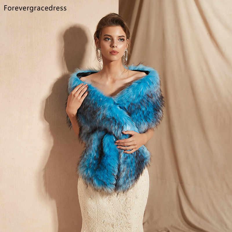 Forevergracedress 2019 Elegan Lembut Musim Gugur Musim Dingin Bulu Imitasi Pengantin Pernikahan Bungkus Bolero Jaket Bridal Mantel Selendang PJ318