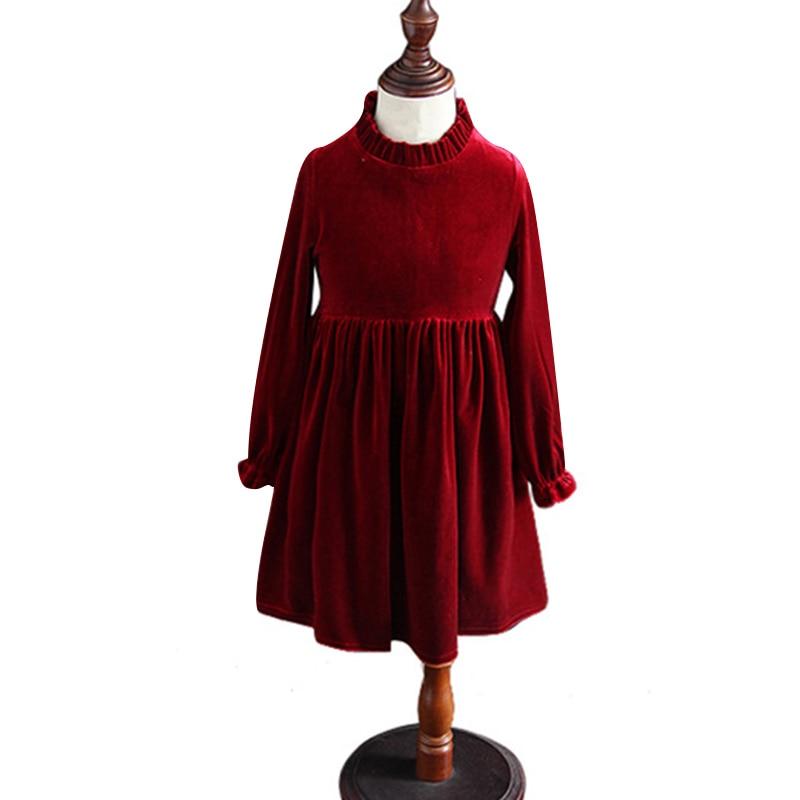 7410515d3 Vestidos de invierno de manga larga para niñas de 3 a 12 años de terciopelo adolescente  elegante vestido de fiesta de noche para niños de la escuela ropa de ...