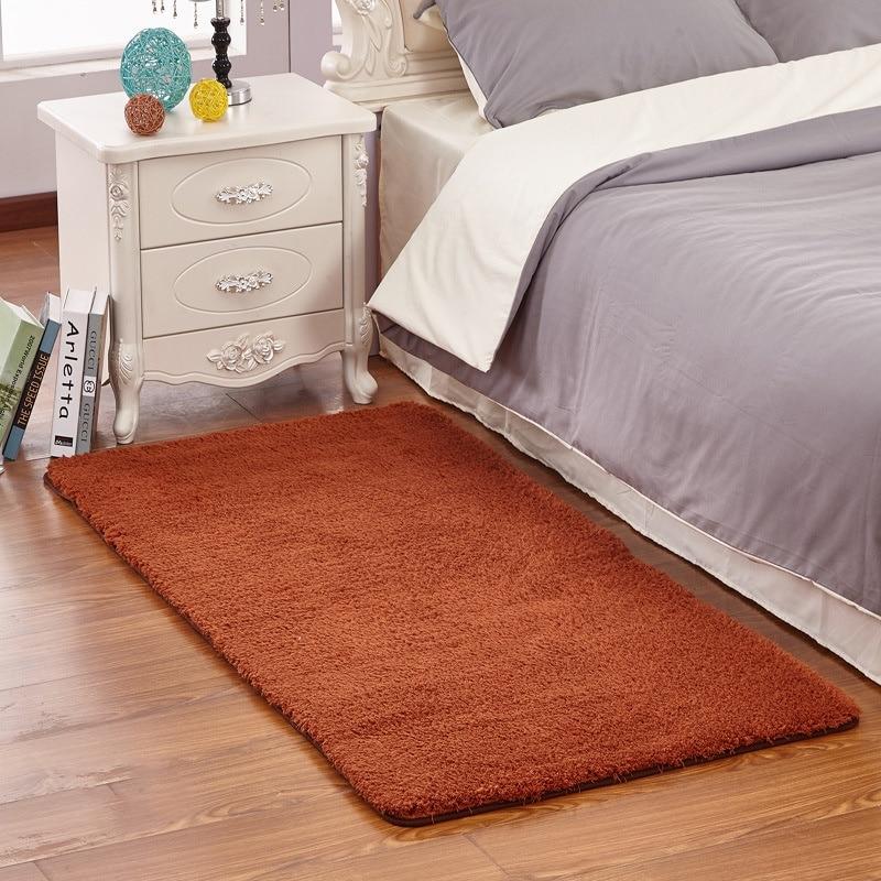 Сплошной цвет ковровой Современный Шелковый ковер гостиная прямоугольный журнальный столик диван тумбочка ковер спальни коврики