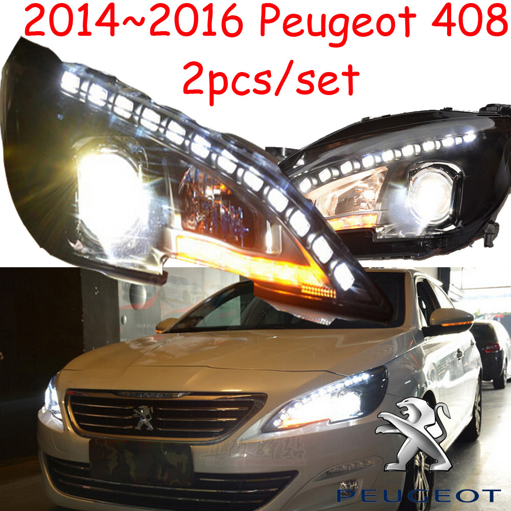 2014~2016 Peugeo 408 headlight,408,Fit for LHD and RHD,Free ship! 408 fog light,2ps/set+2pcs Ballast; Peugeo408