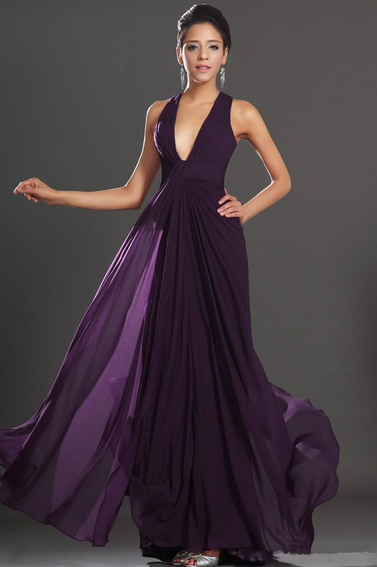 346d5082249 2015 Sexy Deep V Neck Long Chiffon Bridesmaid Dresses Dark Purple Backless  A-Line Dresses Junior Maid of Honor x336