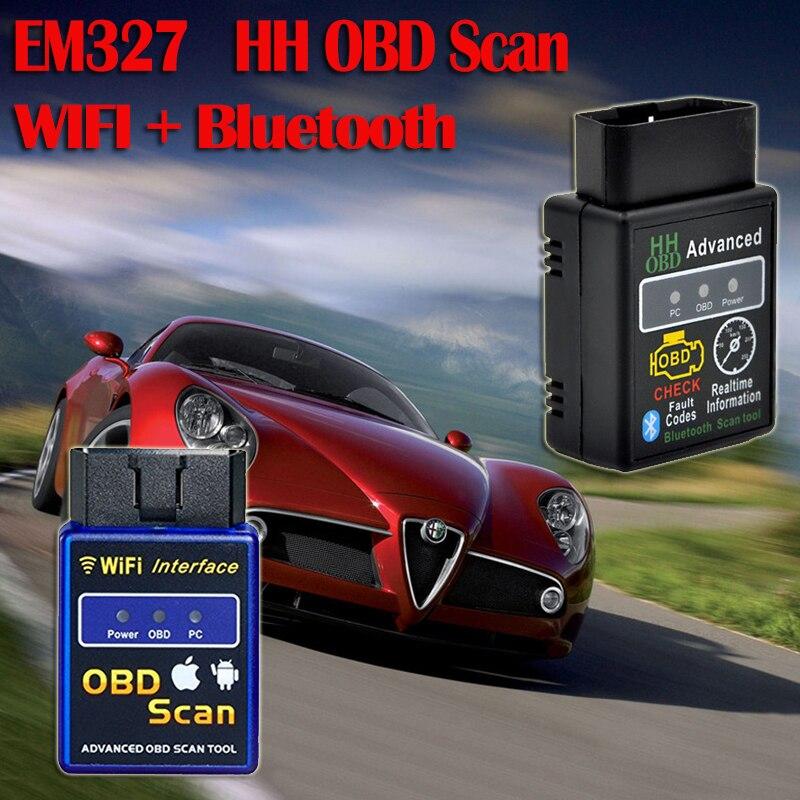 Prix pour 2017 Dernière Wifi bluetooth OBD2 Interface Can-Bus Scanner ELM 327 OBD II Prend En Charge Android/IOS/PC système OBD2 Diagnostic Auto