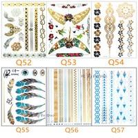 6pcs hot sales DIY Flash Tattoos Gold Silver Metal Temporary Tattoo bracelet Golden necklace Tattoo makeup body girl tattoo 18