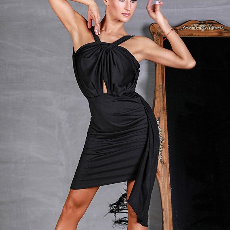 2019 moderne Latin compétition robes Sexy irrégulière dos nu scène danse robe Salsa femme salle de bal Salsa pratique porter DWY1498
