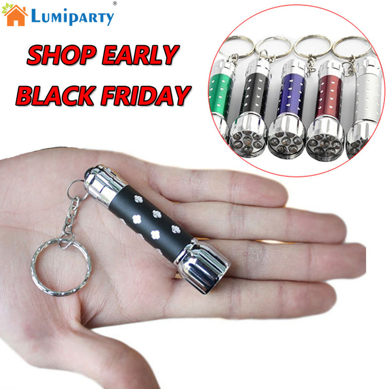 LumiParty Pocket Size Mini Portable Supper Bright Batteries Powered LED Electric Torch 7 LED Flashlight with Key Chain jk30