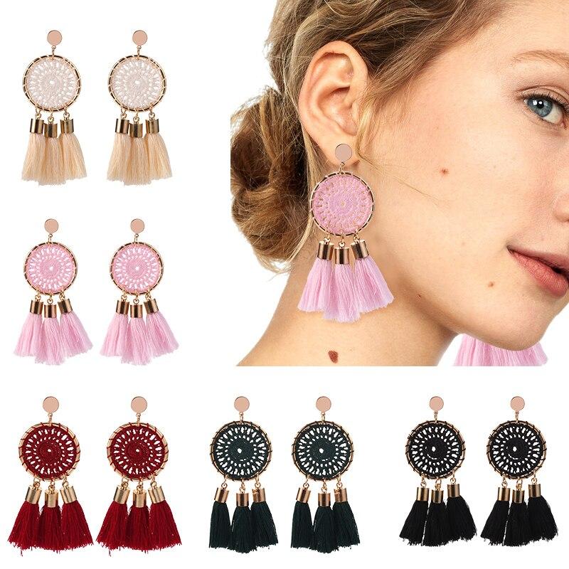 HOCOLE Bohemian Long Tassel Earring Female Ethnic Gold Metal Weave Round Drop Earrings Statement Fashion Jewelry Party