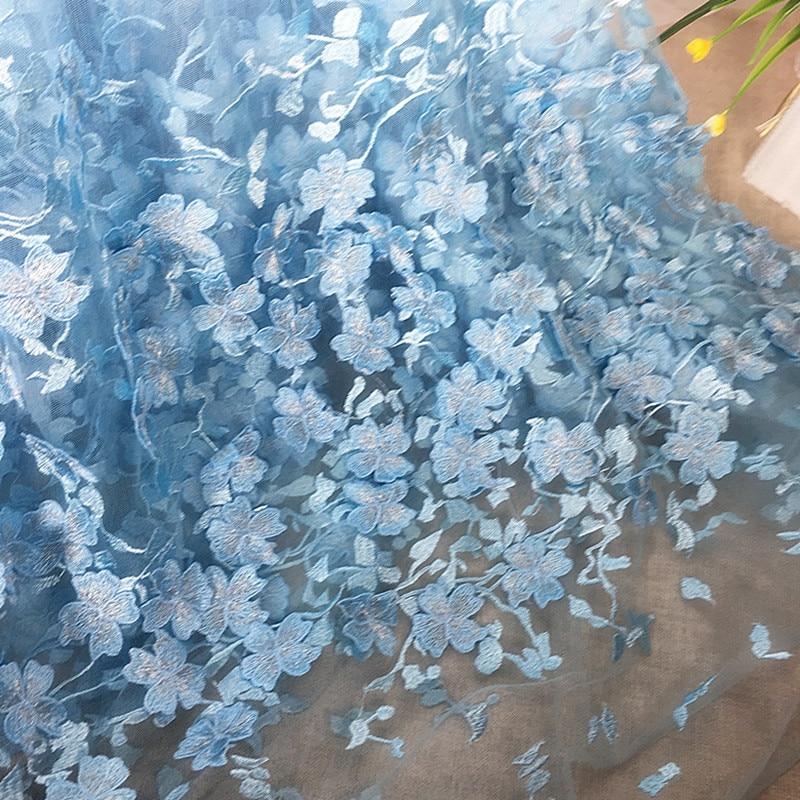 3 stoczni/dużo kwiat siatka hafty tkaniny materiał afryki koronki haftowane długa suknia ślubna tkaniny spódnica czarny różowy niebieski Diy Top w Materiał od Dom i ogród na  Grupa 1