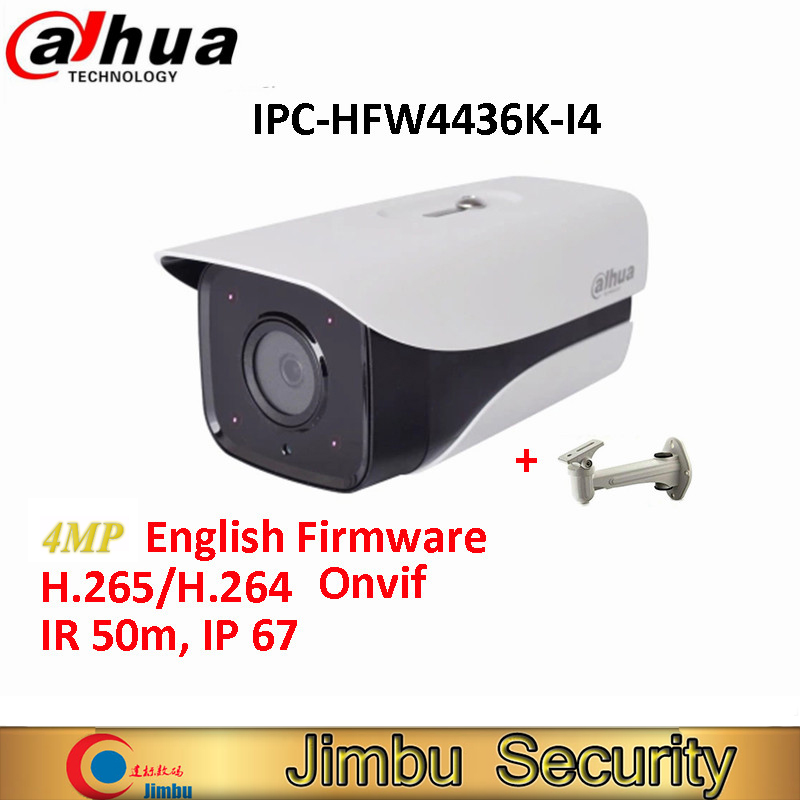 Original Dahua IP H.265 Camera IPC-HFW4436K-I4 4MP English Firmware Network IR120m WDR Bullet with free bracket dahua english vewrsion 4mp wdr network vandalproof bullet ip camera with fixed lens ip67 ipc hfw4421e 3 6mm lens