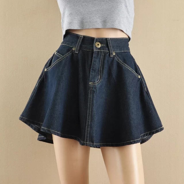 2017 Women Vintage High Waist Jeans skirt Pleated Flared Circle Fashion Style Ladies Mini Denim Skirt Dark Blue