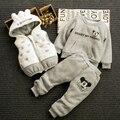 2016 novos meninos e meninas do bebê roupas de inverno engrossar pele de pelúcia do bebê com capuz dos desenhos animados Mickey pullover/vest/calças conjunto de roupas de algodão