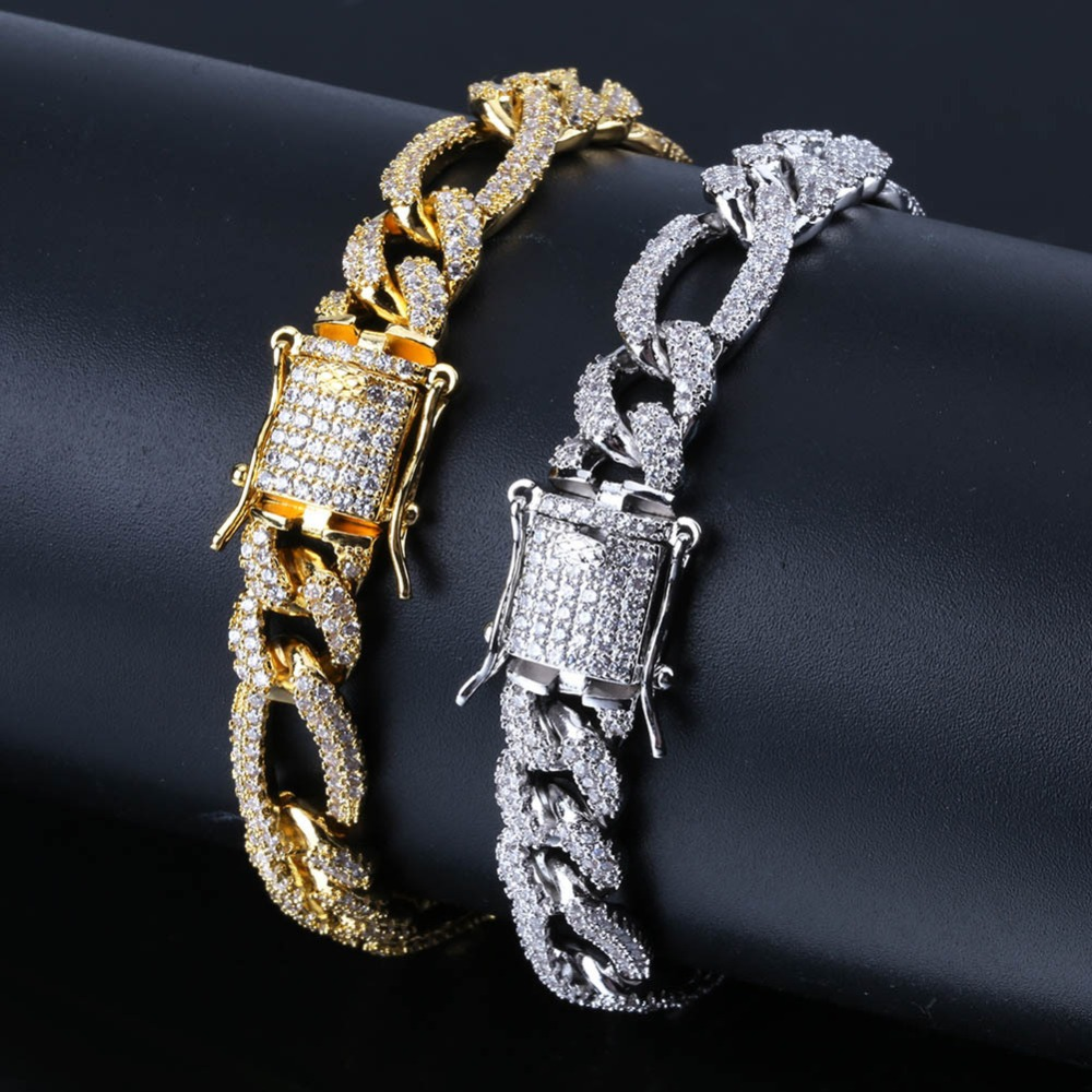 New Style Women Punk Jewelry Iced Out Micro Paved Cubic Zircon Charms Hip Hop Tennis Bracelet Men Pulsera Hombre 7 8 Inch|Chain & Link Bracelets| |  - title=