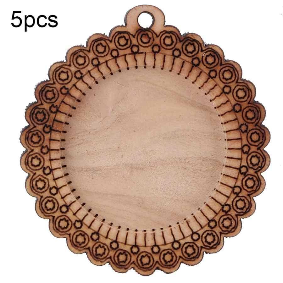 รอบต้นไม้เครื่องประดับตกแต่งคริสต์มาสจี้คริสตัล 5PCS สายไฟไม้ว่างเปล่าจี้สร้อยคอถาดฐาน Chain