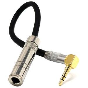 6,35 hembra Mono a 3,5 macho enchufe Jack estéreo Hifi Mic Audio extensión Cable corto 90 grados angulada cable de línea de Audio
