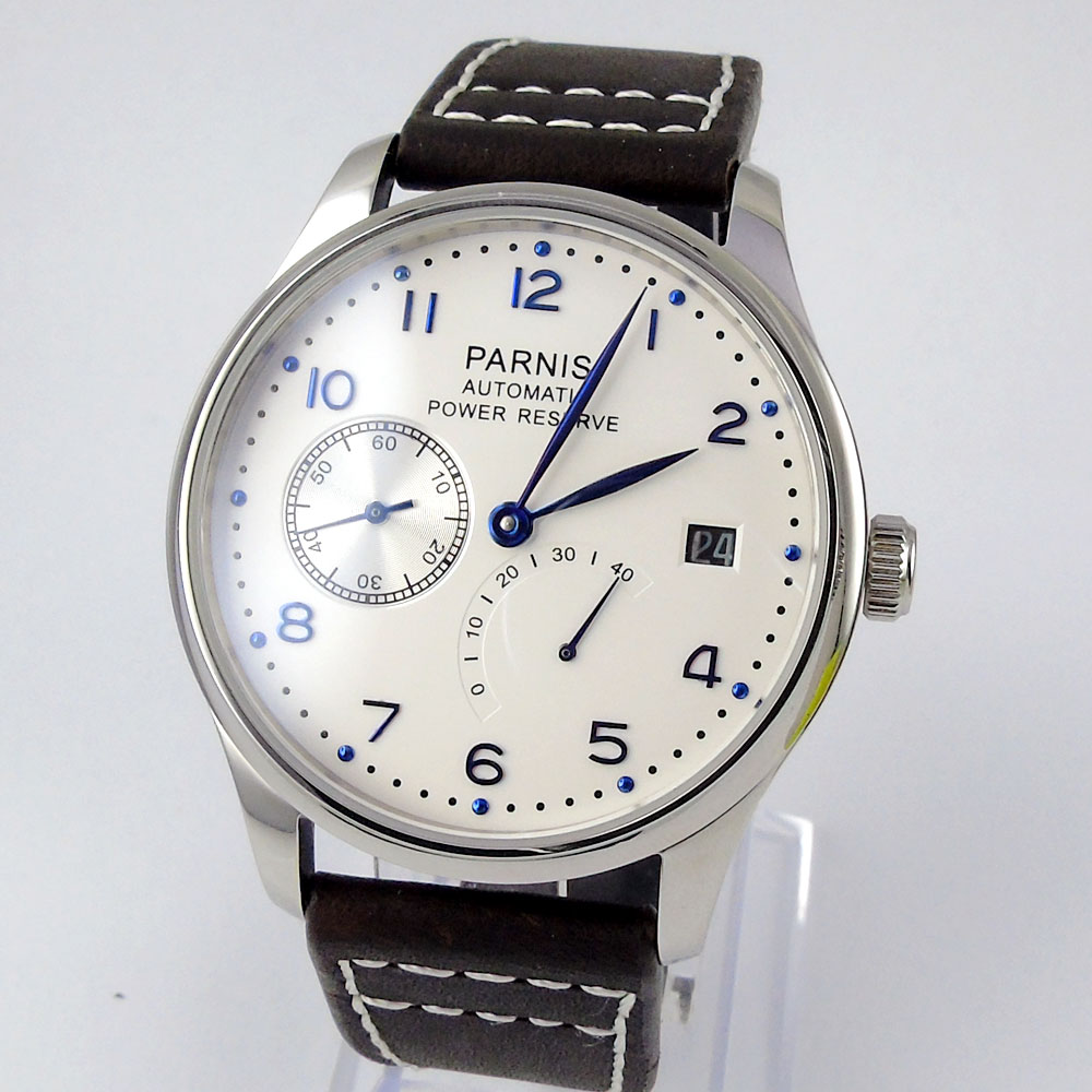 2018 New Hot Design 43mm Parnis White Dial date adjust Power Reserve Automatic Movement blue markers Mens Watch2018 New Hot Design 43mm Parnis White Dial date adjust Power Reserve Automatic Movement blue markers Mens Watch