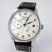 2019 New Hot Design 43mm Parnis White Dial date adjust Power Reserve Automatic Movement blue markers Men's Watch