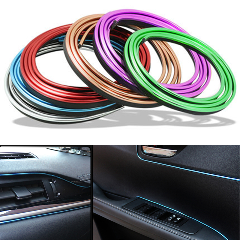 5M Car Interior Mouldings Trims Decoration Line Strips Car-styling Door Dashboard Air Outlet Decorative Auto Accessories