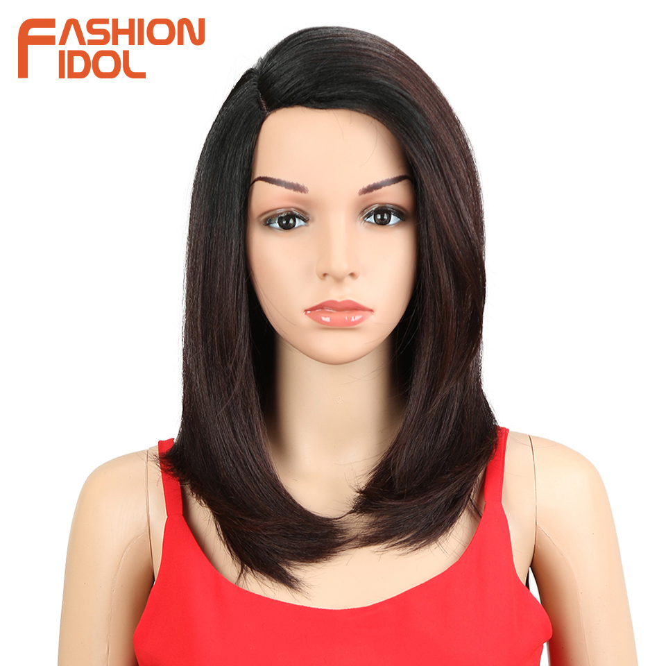 FASHION IDOL Wigs For black Women 18 inch Short Bob Hair Straight Synthetic Side Part Lace Front Wig Ombre Heat Resistant Hair(China)