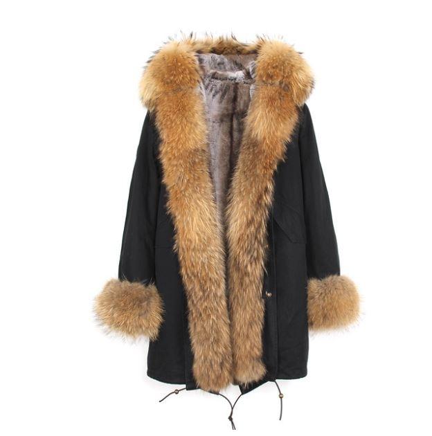 Американский стиль Горячая Распродажа Женская мода Большой настоящий Енот с капюшоном и джинсы с отворотами плюс размер толстые длинные пальто куртки верхняя одежда бренд - Цвет: C6