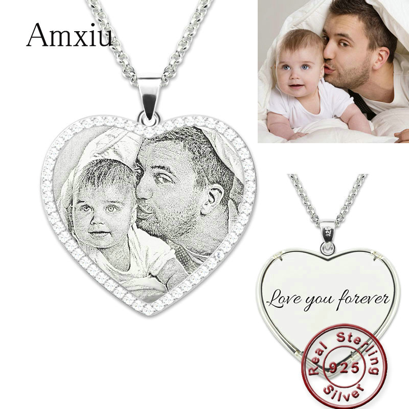 Amxiu Customized Photo Necklace 925 Sterling Silver Jewelry Engrave Name Heart Pendant Necklace For Women Mother