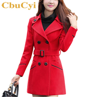 Plus Size Winter Fashion Overcoat Women Long Woolen Coats Turn Down Collar Double Breasted Slim Jacket