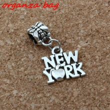 MIC 100PCS Antiqued Silver Alloy New York Charm Big Hole Bead Fit Bracelet Jewelry 14.5x26mm A-168a