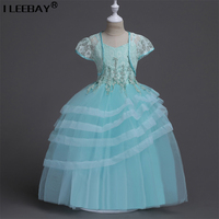 New Design Girl Dress 2017 Tulle Beading Flower Princess Dresses Kids Wedding Party Bridesmaid Clothes Toddler Girl Long Costume