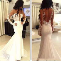 robe de soiree White Lace Mermaid Evening Dresses Long 2019 Long Sleeves White Prom Dresses Formal Evening Gowns abendkleider