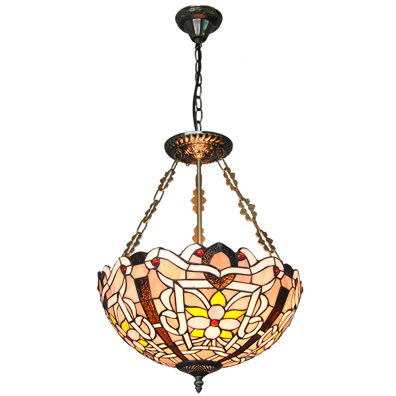 """16"""" Retro European Style Tiffany Stained Glass Inverted Pendant Lamp Vintage Hanging Light Kitchen Dining Room Fixtures PL802"""