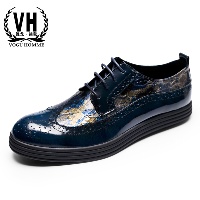 Bullock carved leather shoes British Style Men Casual Fashion Shoes printing platform autumn winter British retro men shoes бенз генератор elitech бэс 12000 е