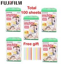 Оригинальный 100 листов Fujifilm Fuji Instax Mini белый фильм мгновенный фотобумага для Instax Mini 8 70 25 Камера SP-1 SP-2 + Бесплатный подарок