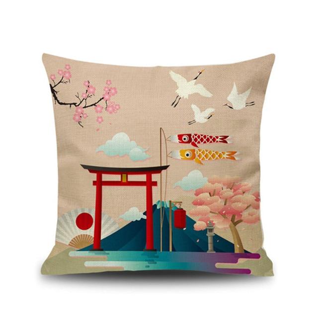 Decor Linen Japanese Fuji Mountain Ukiyo Style Retro Pillow Cover Cushion Cover for Sofa Home Decoration Pillowcase 45x45cm 2