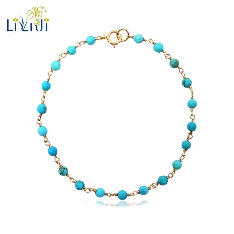 LiiJi Einzigartige Türkei Blau Türkisen Verkrustete Ca. 3mm Faceted Perlen draht wrap 925 sterling silber Handgemachte Stricken Glänzende Armband