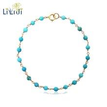 Liiji exclusivo turquia azul turquesa 3mm contas fio envoltório 925 prata esterlina artesanal tricô brilhando yoga cura pulseira
