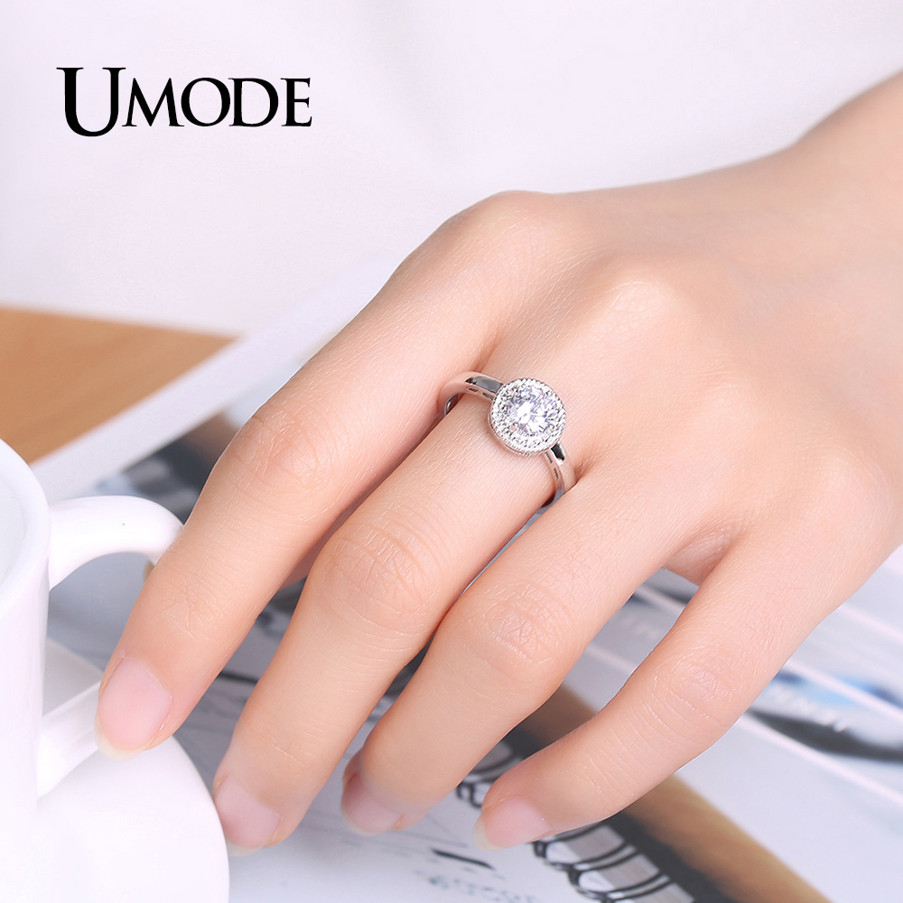 UMODE Brand Round Cubic Zirconia Crystal Wedding & Engagement ...