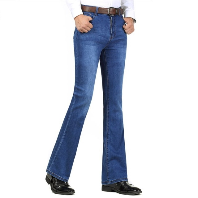 1a45b007b1e Free Shipping Men s Autumn Winter Plus long Boot Cut Jeans Male Mid-High Waist  Casual Business Denim Pants flares Thick Trousers