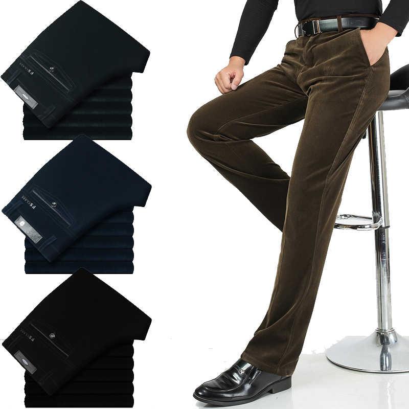 Yeni sonbahar erkekler yüksek bel gevşek kadife pantolon iş rahat pantolon düz elastik pantolon orta yaşlı kadife pantolon