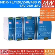 MEAN WELL NDR 75 120 240 480 Series DC 12V 24V 48 V NDR 75  120  240  480 W 12 24 48 Vเอาต์พุตเดี่ยวอุตสาหกรรมDIN Rail