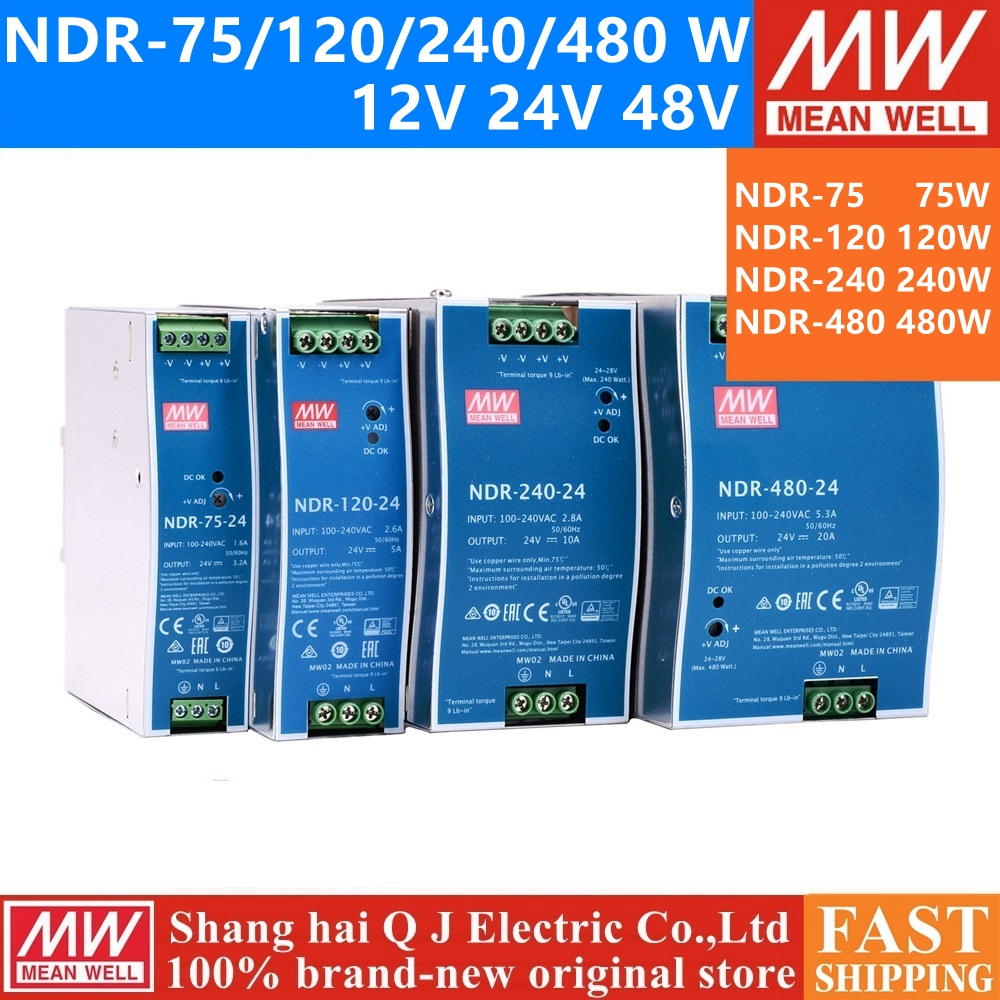 MEAN WELL-Rail DIN industriel 12V, 24V, 48 V, série NDR-75, 120, 240, 480, NDR-75, 120 W, sortie 12, 24V, série 240, 480