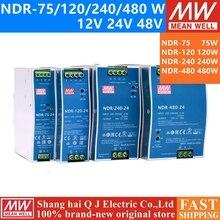 MEAN WELL NDR 75 120 240 480 series DC 12V 24V 48V NDR 75  120  240  480 W 12 24 48 V Single Output Industrial DIN Rail