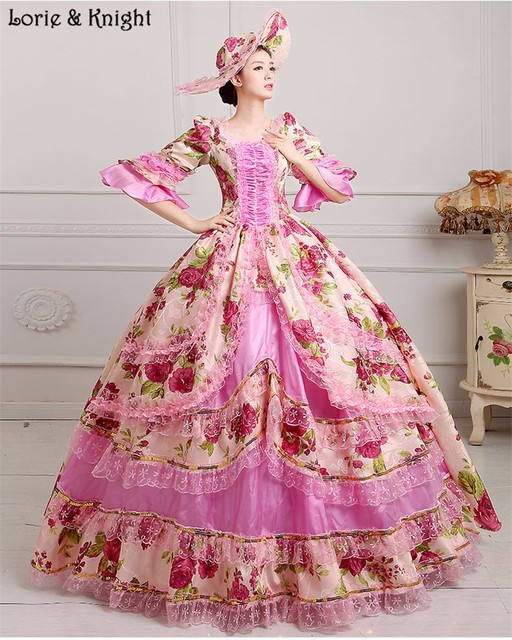 Marie Antoinette Inspired Masquerade Dress Floral Rococo Dress Princess Royal Ball Gowns  9 COLOR