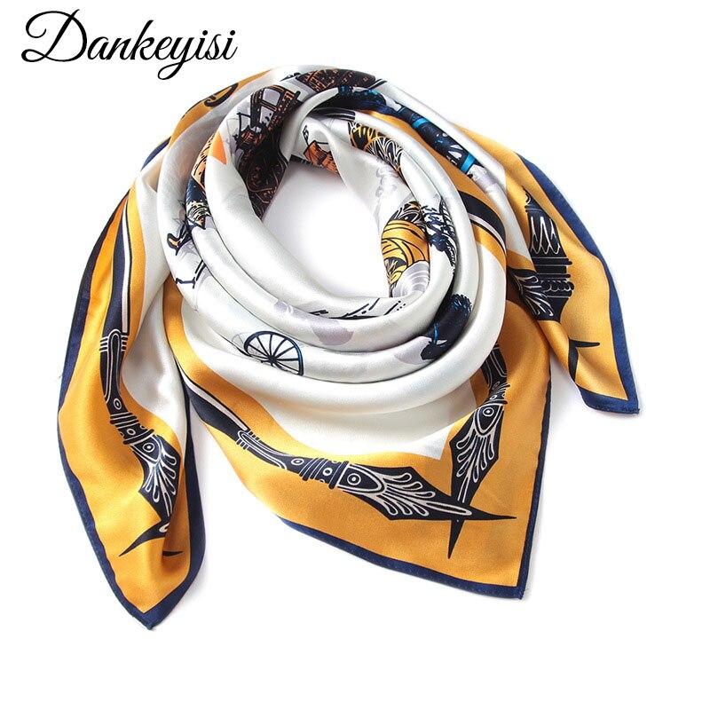 DANKEYISI Real Silk Scarf Women Head Hijab Pure Silk Scarf Square Women Scarf Female Silk Head Scarves Wraps 2017